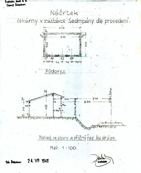 Zastávka Sedmpany, stavební plánek